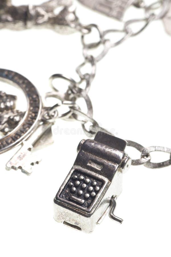 machine à écrire antique de charme de bracelet photographie stock libre de droits