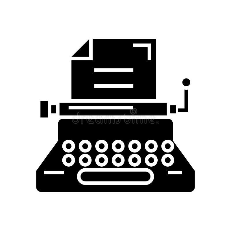 Machine à écrire - auteur - écriture - l'icône de rédaction publicitaire, illustration de vecteur, noir se connectent le fond d'i illustration libre de droits