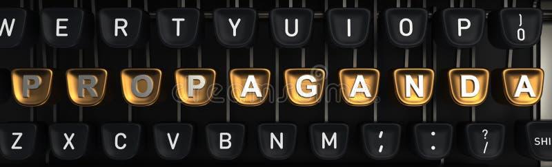 Machine à écrire avec des lettres de propagande sur des boutons rendu 3d illustration stock