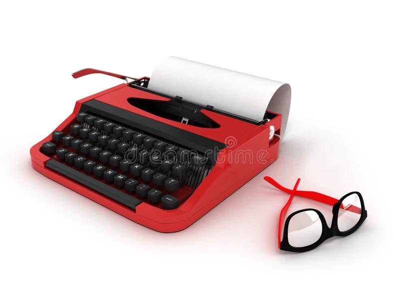 Machine à écrire avec la feuille de papier et de verres d'isolement sur le fond blanc avec le chemin de coupure 3d illustration libre de droits