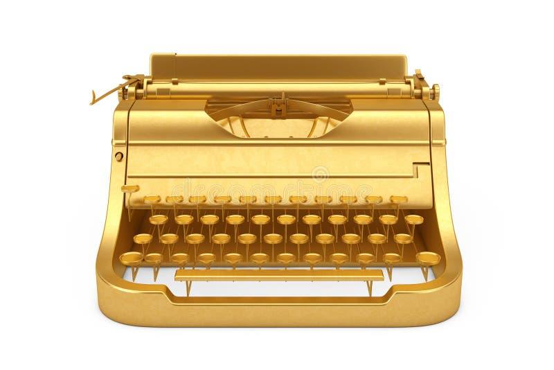 Machine à écrire d'or de vieux vintage rétro rendu 3d illustration libre de droits