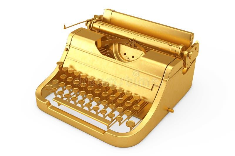 Machine à écrire d'or de vieux vintage rétro rendu 3d illustration stock