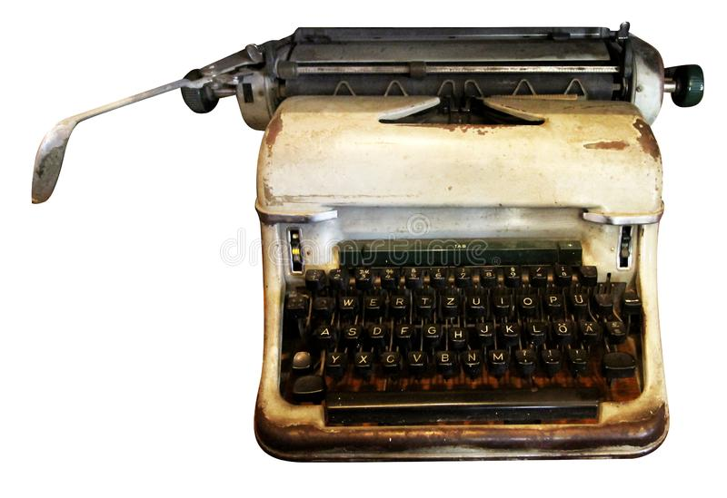 Machine à écrire d'isolement, machine à écrire antique, équipement analogue image stock