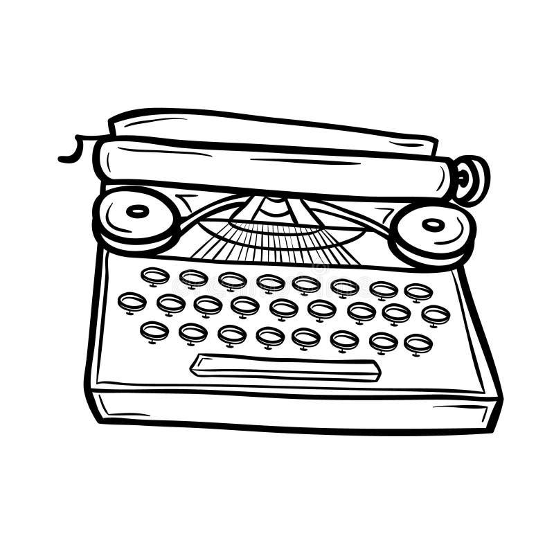 Machine à écrire dans le style de griffonnage illustration libre de droits