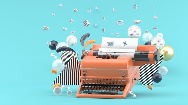 Machine à écrire orange entourée par des lettres et des boules colorées sur un fond bleu illustration de vecteur