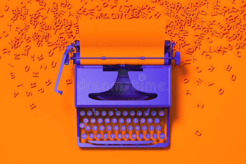 Machine à écrire violette réaliste avec le papier blanc orange sur le bureau orange rendu 3d Concept de minimalisme illustration libre de droits
