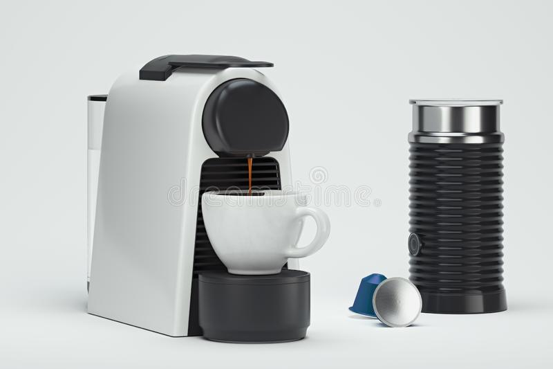 Machine à café Espresso en cours de fabrication rendu 3D illustration libre de droits