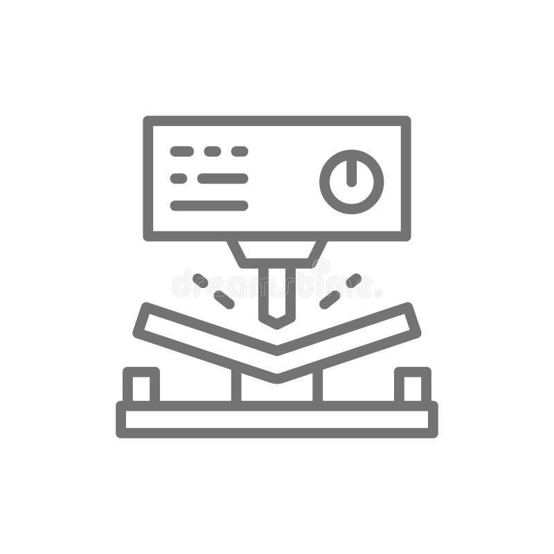 Machine à cintrer en métal, ligne hydraulique icône de machine de presse de commande numérique par ordinateur illustration libre de droits