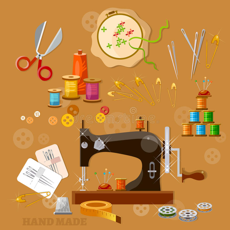 Machine à coudre d'ouvrière couturière et de tailleur illustration de vecteur