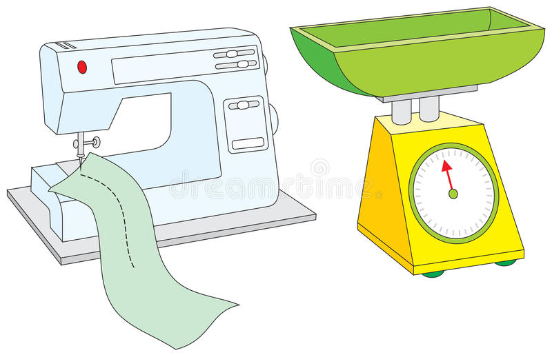 Machine à coudre et échelles illustration stock