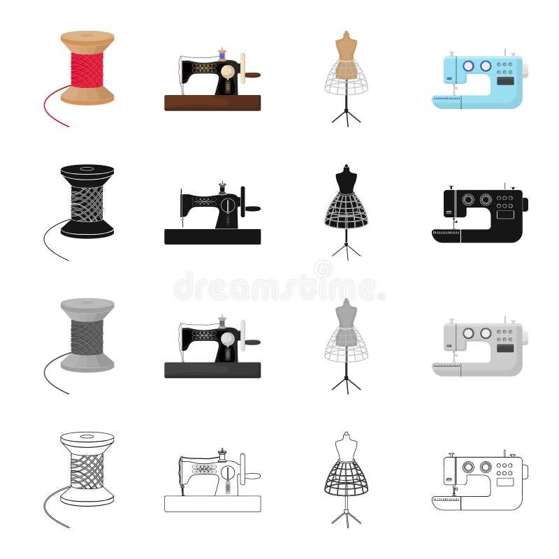 Machine à coudre manuelle, bobine de fil, factice sur le support, machine électrique Atelier et icônes réglées de couture de coll illustration de vecteur