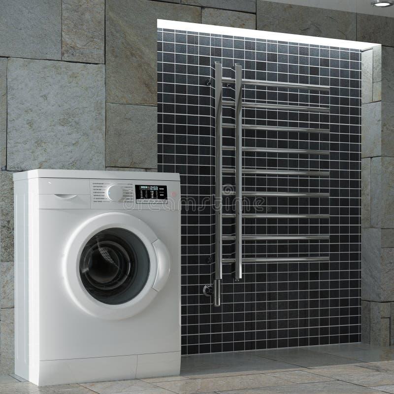 Machine à laver blanche moderne dans l'intérieur de salle de bains rendu 3d photographie stock