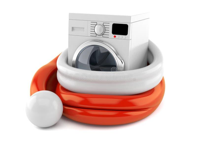 Machine à laver à l'intérieur de chapeau de Santa illustration stock