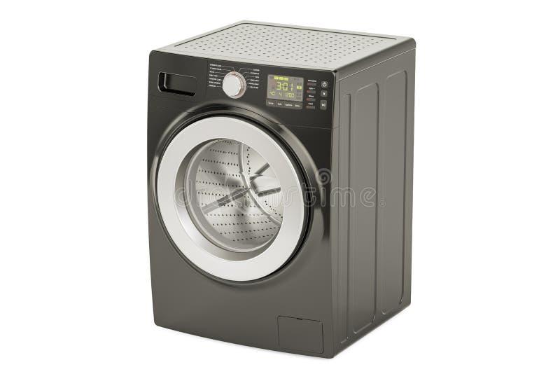 Machine à laver noire, rendu 3D illustration libre de droits