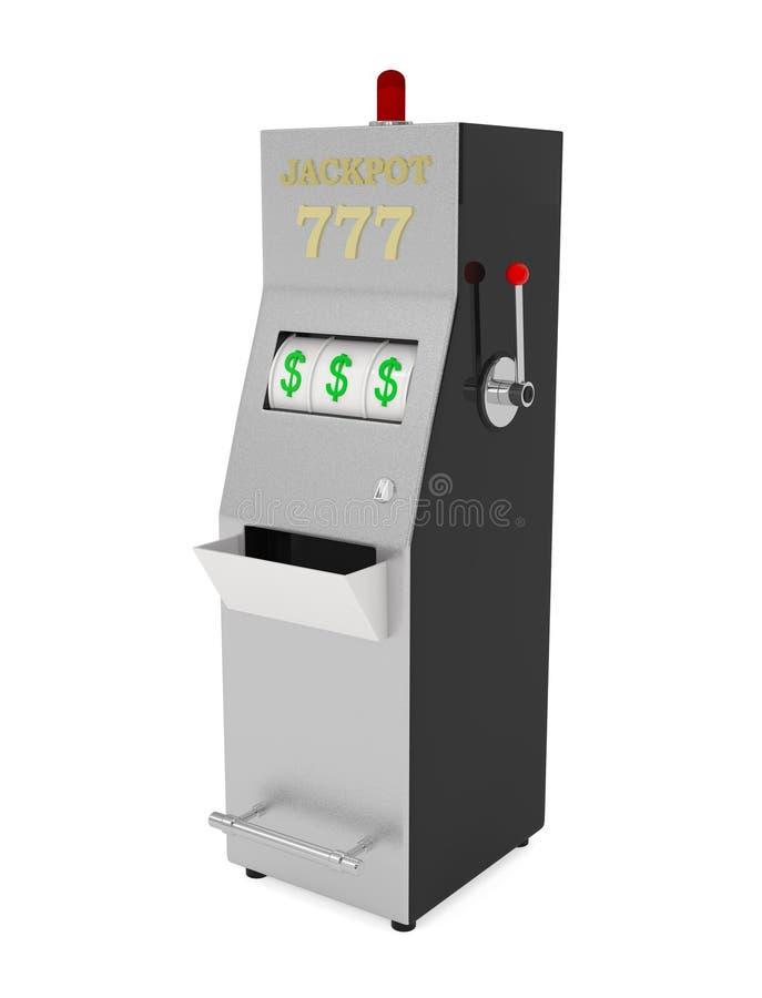 Machine à sous de gros lot dans le casino d'isolement sur le blanc illustration de vecteur