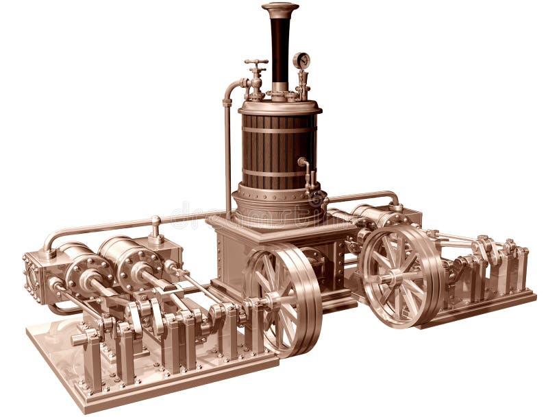 Machine à vapeur et chaudière à quatre cylindres images stock
