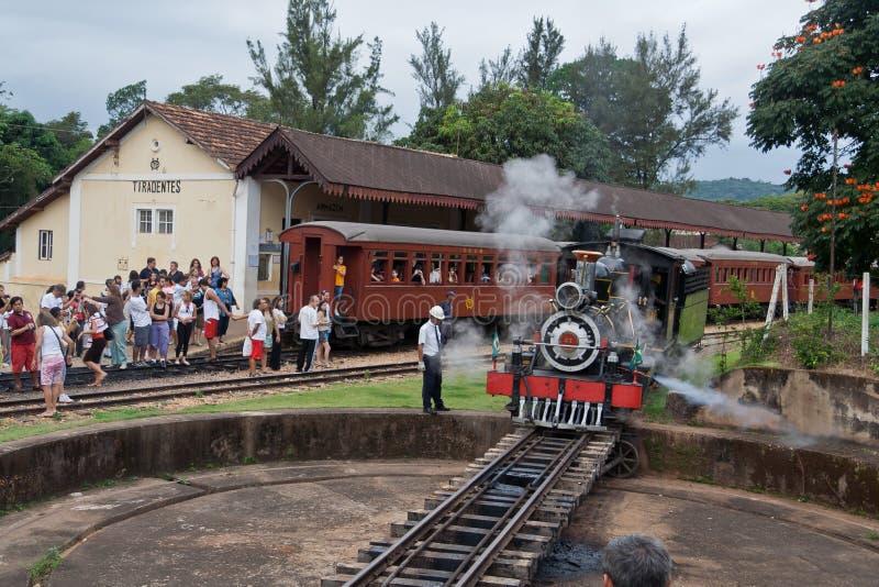 Machine à vapeur Tiradentes locomotif Brésil photo stock