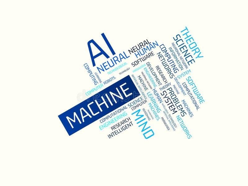 MACHINE - beeld met woorden verbonden aan de onderwerpkunstmatige intelligentie, woordwolk, kubus, brief, beeld, illustratie stock foto's