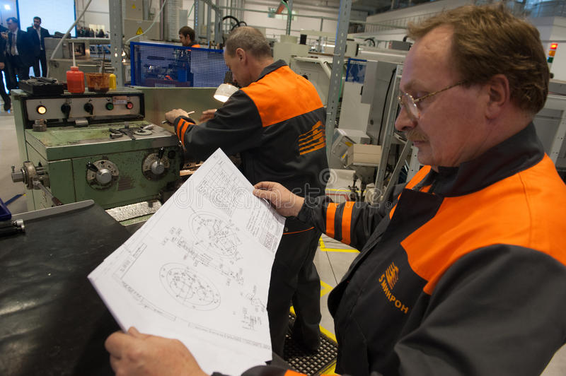 Machine-building plant. Gatchinsky district, Leningrad region - November 12, 2014: Machine-building plant `5 Mikron Engineering`. Milling machine on the stock photos