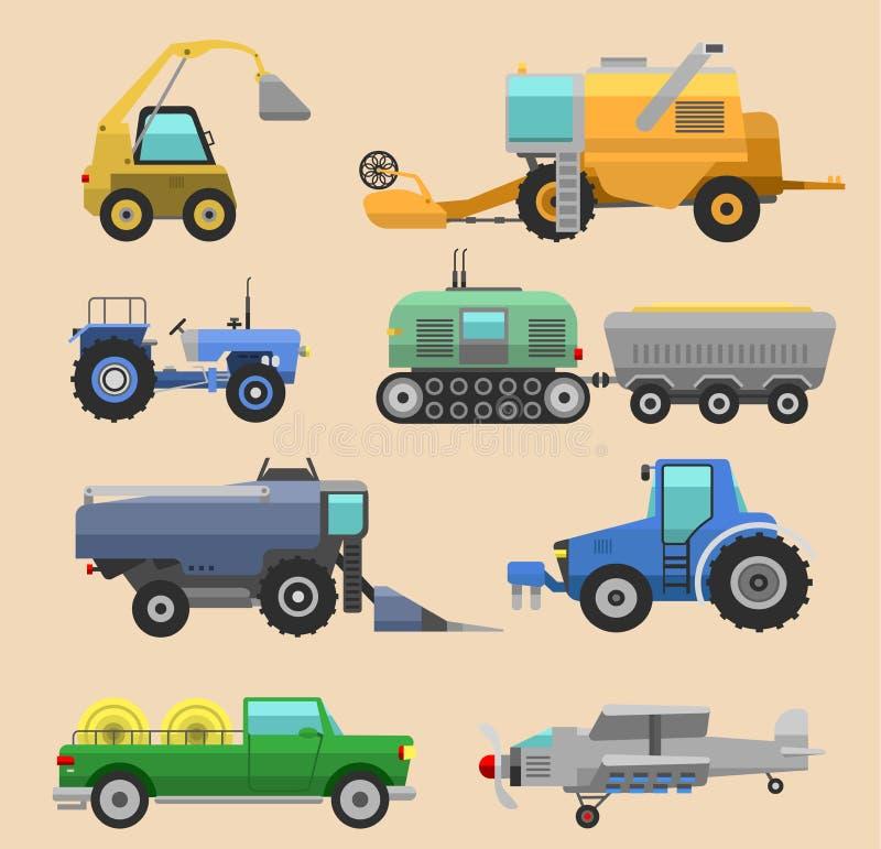 Machine, cartels et excavatrices agricoles de tracteur de moissonneuse de véhicules Machine agricole de moissonneuse d'ensemble d illustration libre de droits