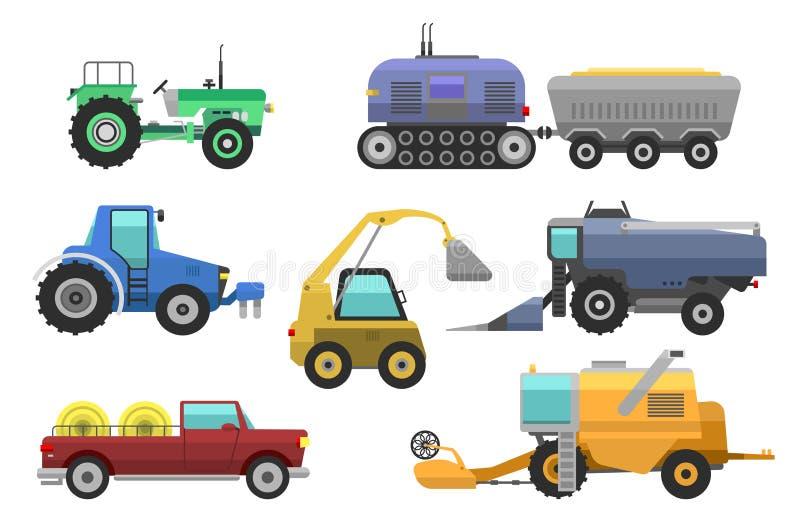 Machine, cartels et excavatrices agricoles de tracteur de vecteur de moissonneuse de véhicules Machine agricole réglée de moisson illustration stock