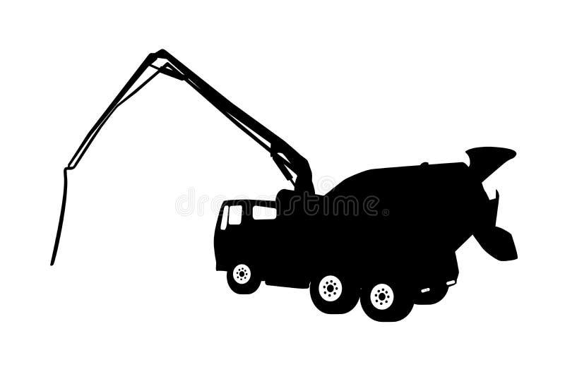 Machine Concrete Pump. Vector Illustration. Black Machine Concrete Pump. Vector Illustration. EPS10 stock illustration
