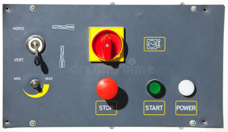 Machine control panel with buttons stock photography