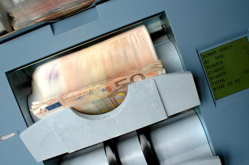 Machine that counts banknote stock photo