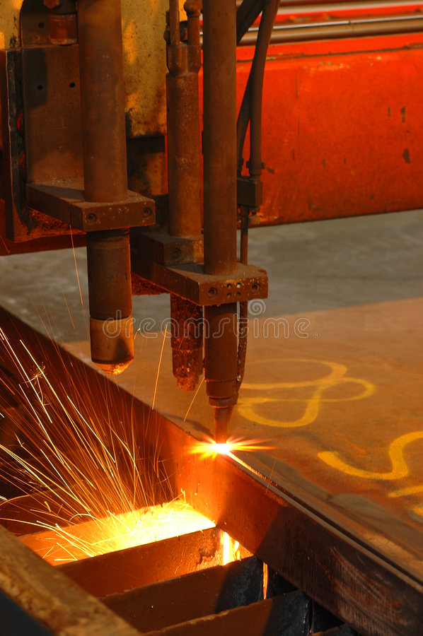 Machine cutting steel stock photo