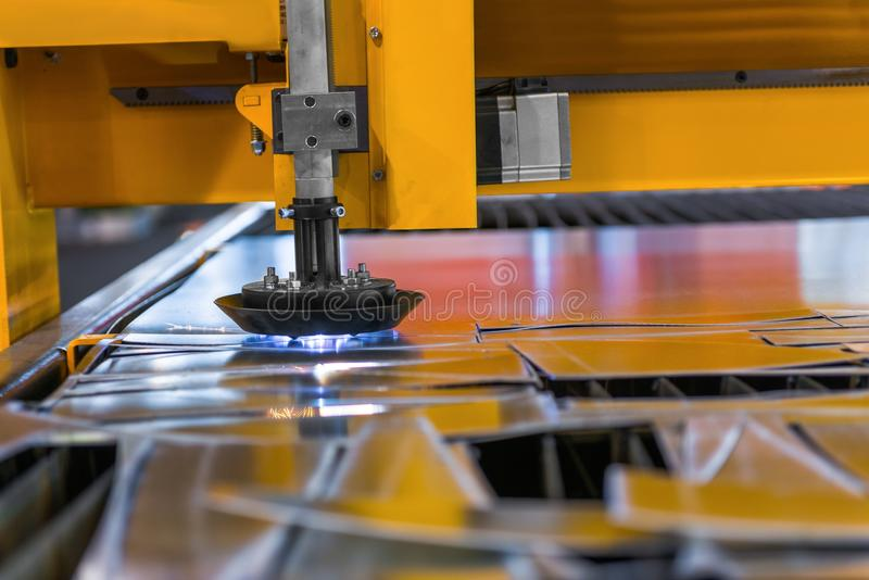 Machine Cutting Steel In A Factory Royalty Free Stock Photo