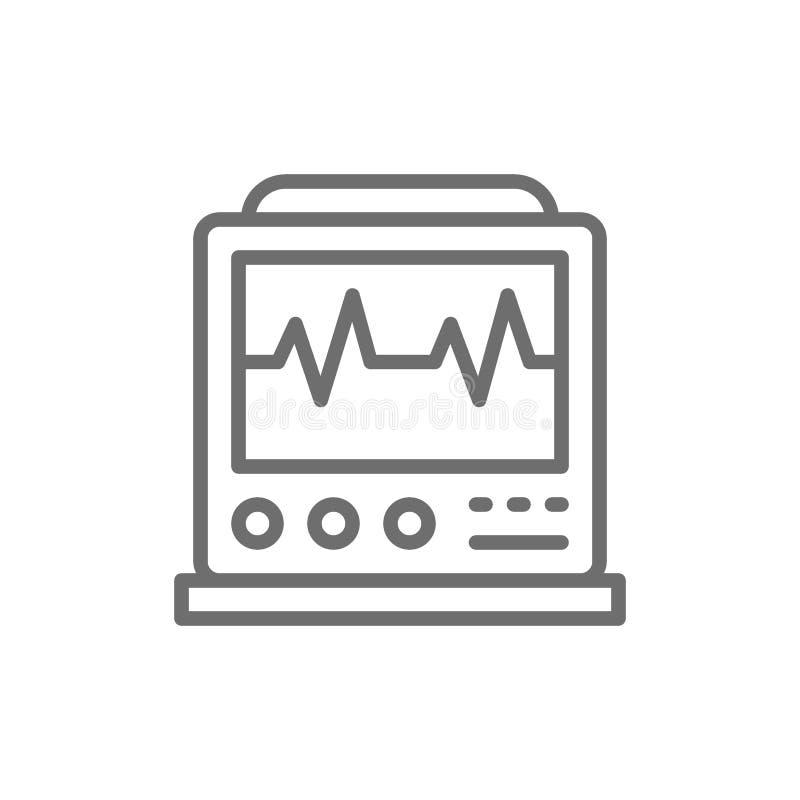 Machine d'électrocardiogramme avec l'impulsion, moniteur d'ICU, ligne icône d'électrocardiographe illustration stock