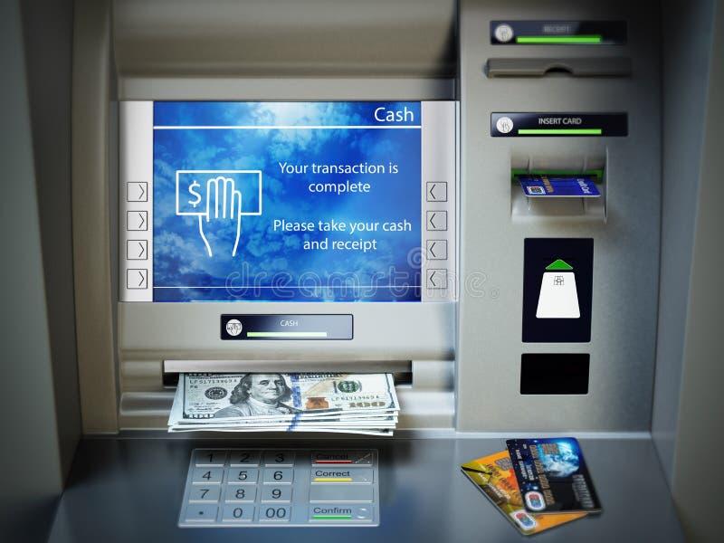 Machine d'atmosphère, argent liquide d'argent et cartes de crédit Retrait de l'interdiction du dollar illustration libre de droits