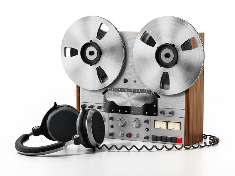 Machine d'enregistrement et écouteurs d'isolement sur le fond blanc illustration 3D illustration de vecteur