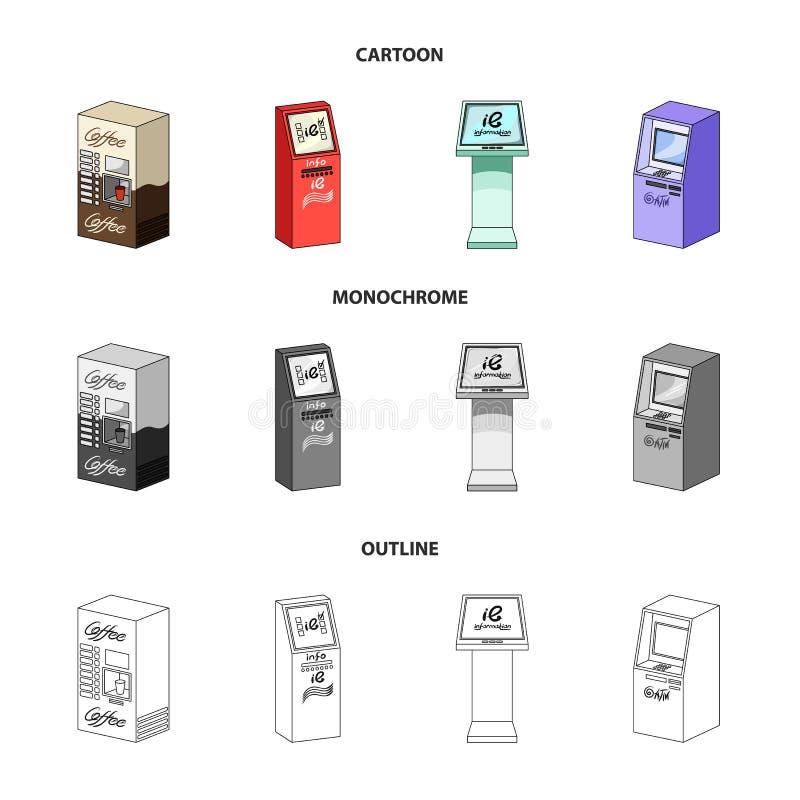 Machine de café, atmosphère, terminal de l'information Icônes de collection d'ensemble de terminaux dans la bande dessinée, conto illustration de vecteur