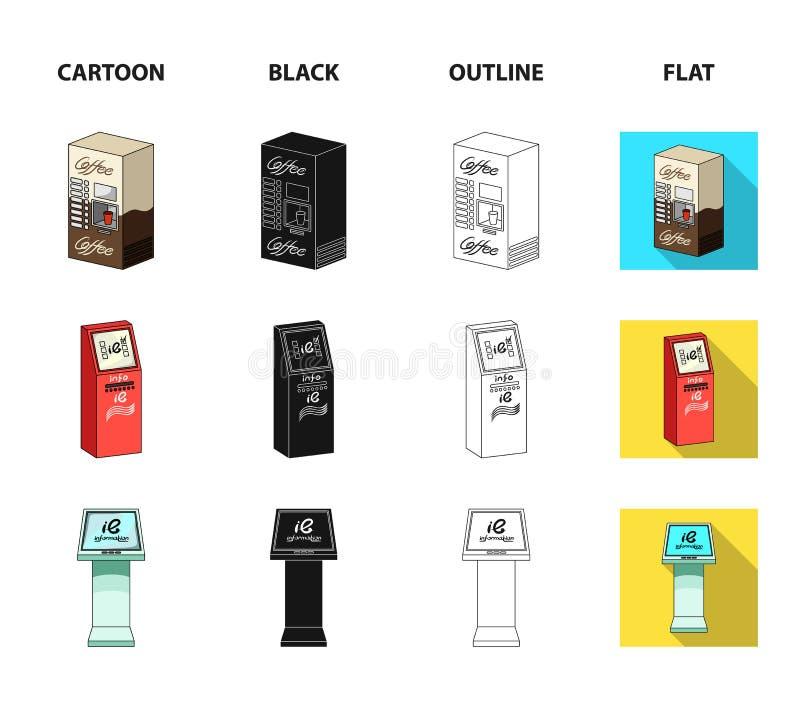 Machine de café, atmosphère, terminal de l'information Icônes de collection d'ensemble de terminaux dans la bande dessinée, noir, illustration stock