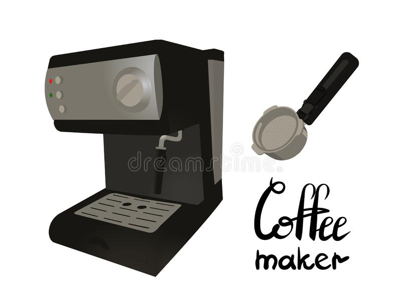 Machine de café avec le portafilter Inscription du fabricant de café illustration libre de droits