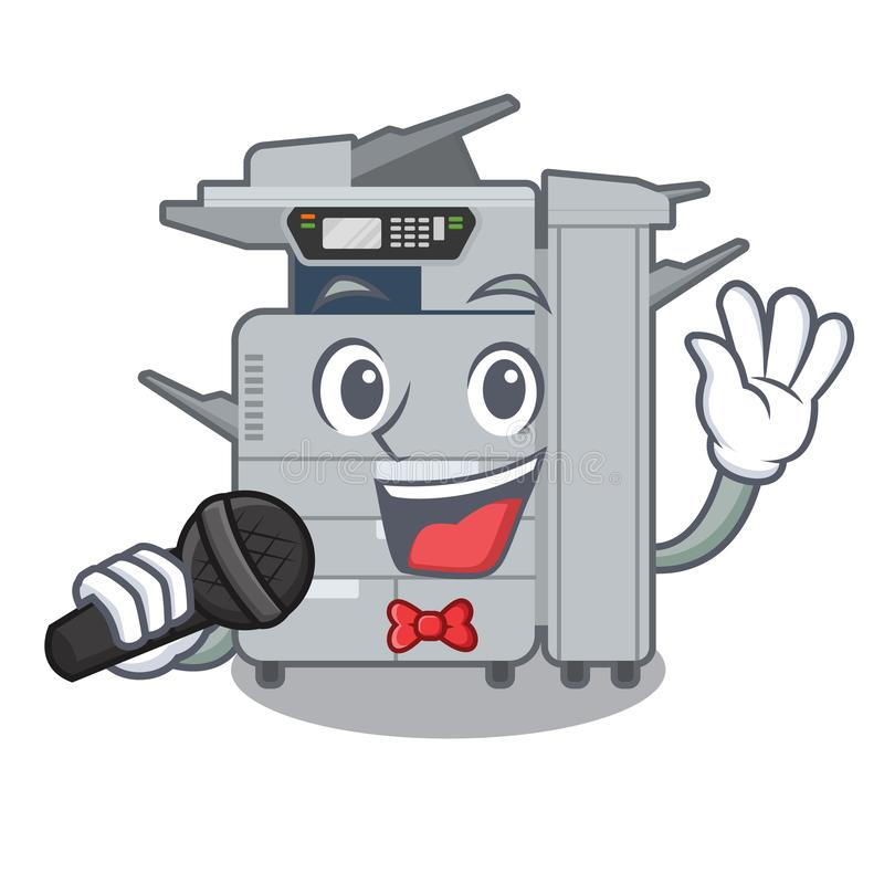 Machine de copieur de chant au-dessus de la table en bois de mascotte illustration stock