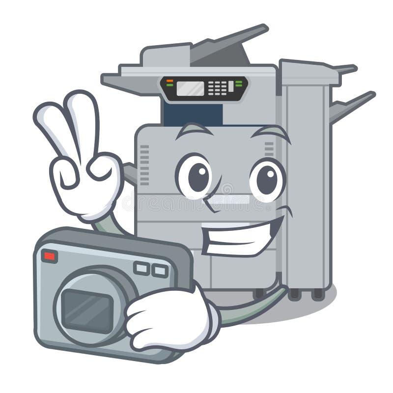 Machine de copieur de photographe au-dessus de la table en bois de mascotte illustration stock