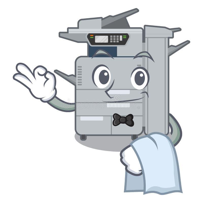 Machine de copieur de serveur au-dessus de la table en bois de mascotte illustration de vecteur