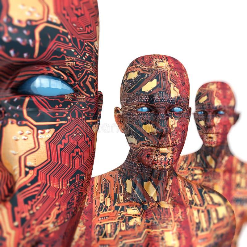 Machine de gens - intelligence artificielle. illustration stock
