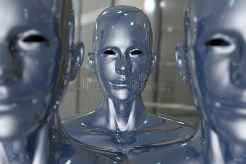 Machine de gens - intelligence artificielle. illustration de vecteur