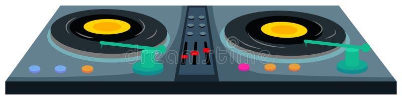 Machine de jockey de disque avec deux disques de musique illustration stock