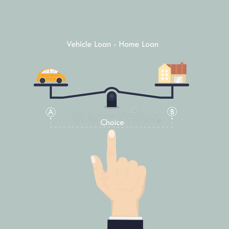 Machine de main et de pesage Sélection de prêt de véhicule et de LOA à la maison illustration stock