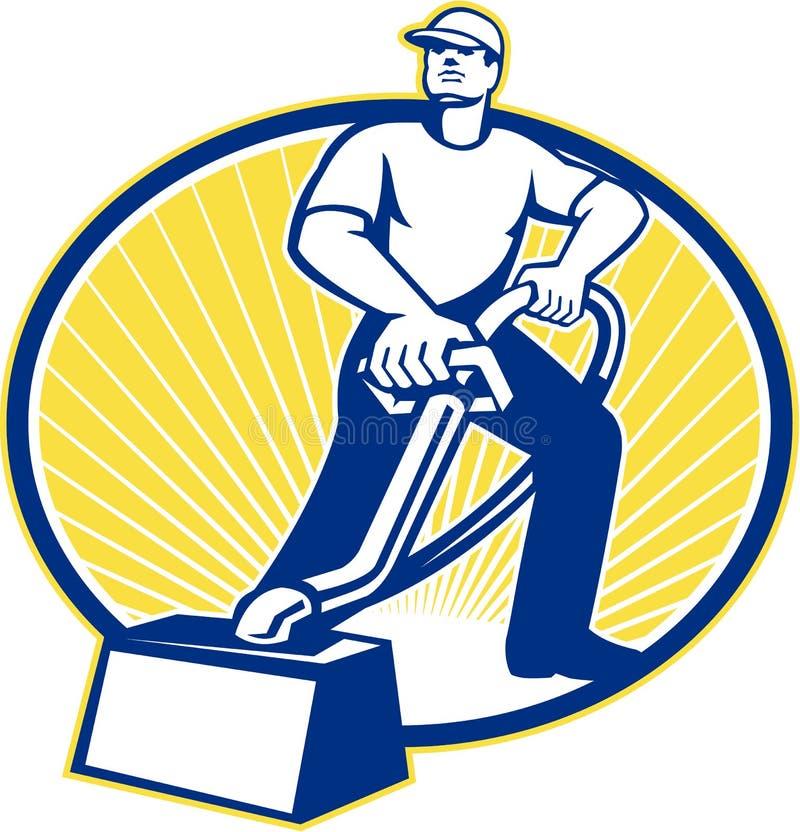 Machine de nettoyage de vide de décapant de tapis rétro illustration de vecteur
