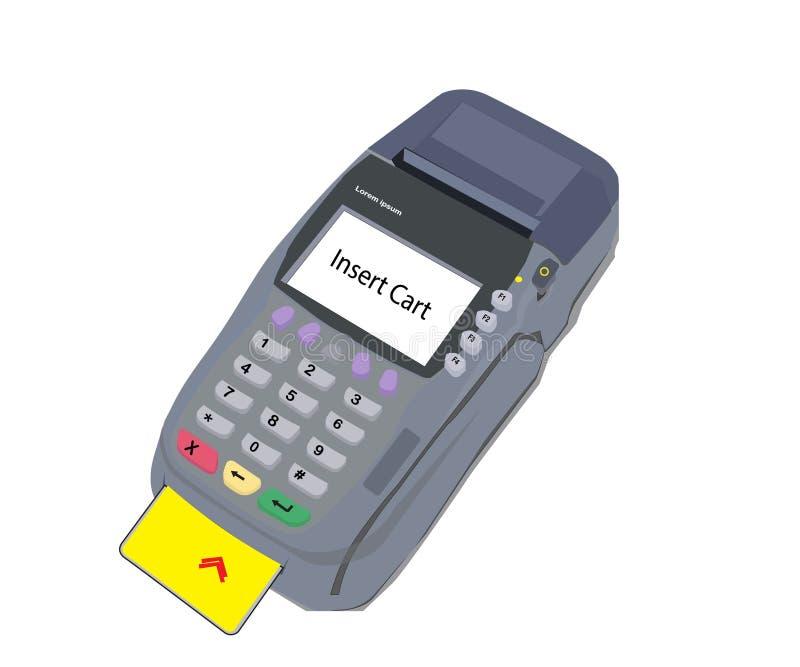 Machine de saisie de donn?es ?lectroniques de vecteur avec un fond blanc illustration libre de droits