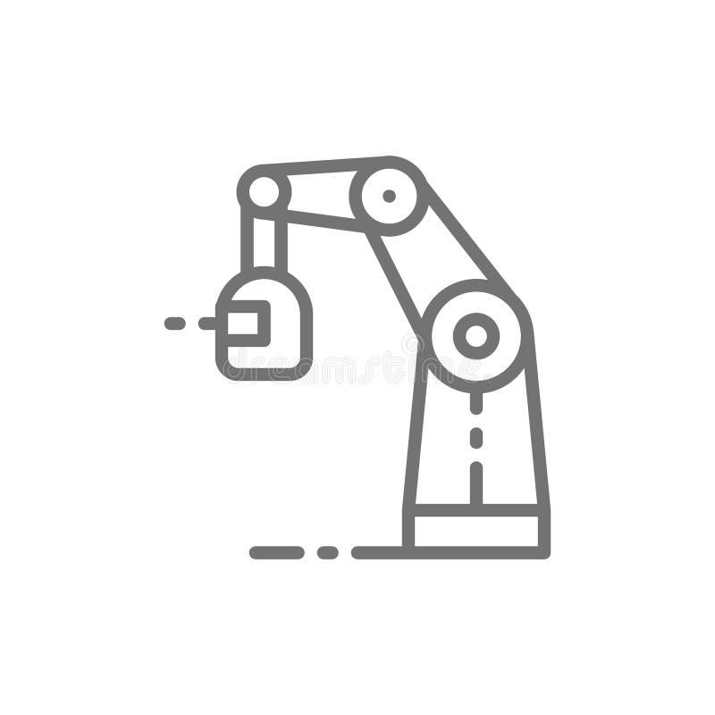 Machine de soudure robotique sans fil, bras robotique avec la ligne icône de torche d'étincelle illustration stock