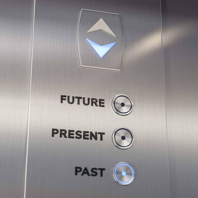 Machine de temps d'ascenseur allant au passé photo libre de droits
