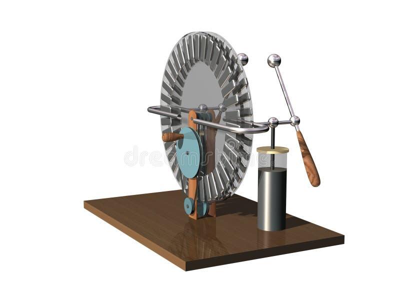 Machine de Wimshurst avec deux pots de Leyde illustration 3D de générateur électrostatique physique Expérience de salles de class illustration de vecteur