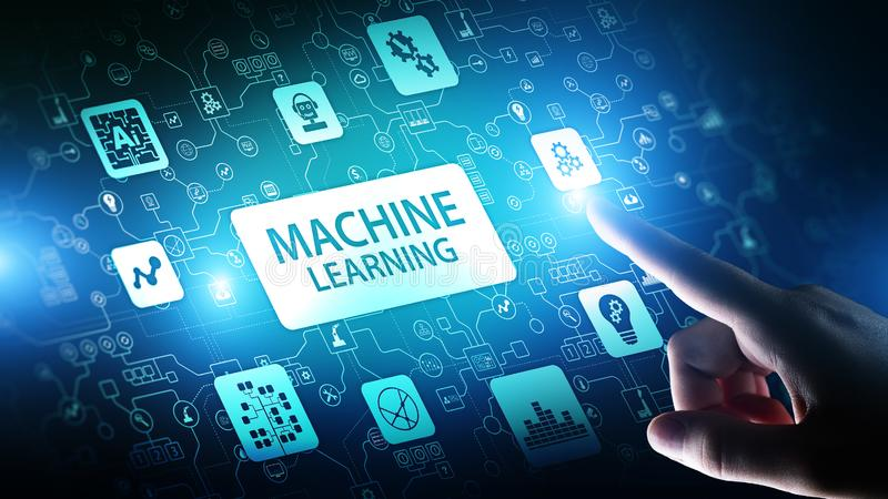 Machine Deep learning algorithms, Artificial intelligence AI , Automation and modern technology in business as concept. Machine Deep learning algorithms stock photo