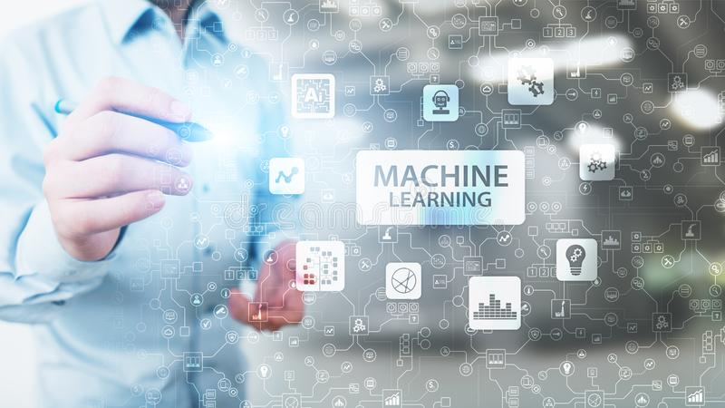 Machine Deep learning algorithms, Artificial intelligence, AI, Automation and modern technology in business as concept. Machine Deep learning algorithms stock image